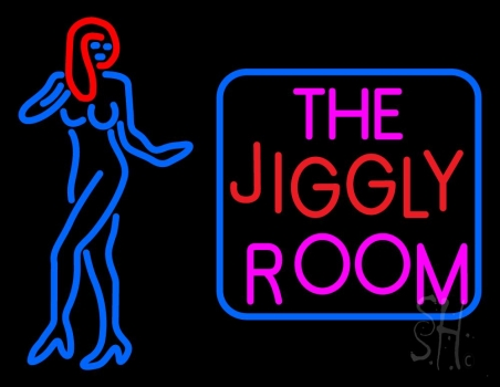 The jiggly room with girl logo neon sign strip club neon for Room decor neon signs