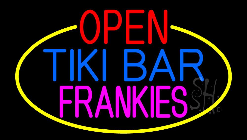 Open Tiki Bar Frankies With Yellow Border Neon Sign | Bar