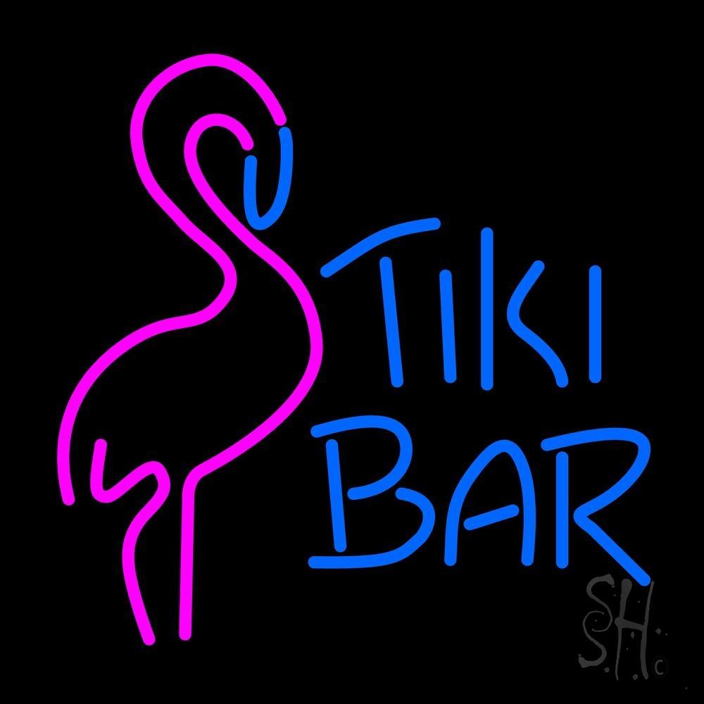 Tiki Bar With Flamingo Neon Sign Bar Neon Signs Neon Light