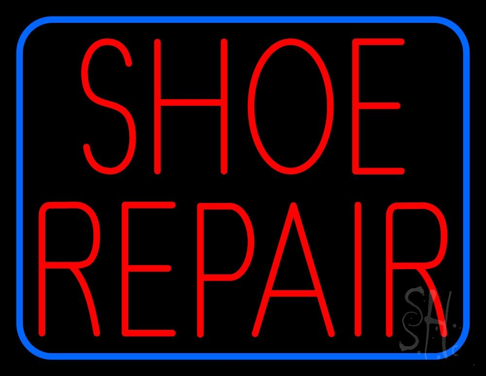 Red Shoe Repair Blue Border Neon Sign  Shoes Neon Signs. Rogue One Stickers. Owl Decals. Tshirt Stickers. Job Consultancy Banners. Cheap Vinyl Stickers. Honey Bee Stickers. Atrium Banners. Pre Diabetes Signs