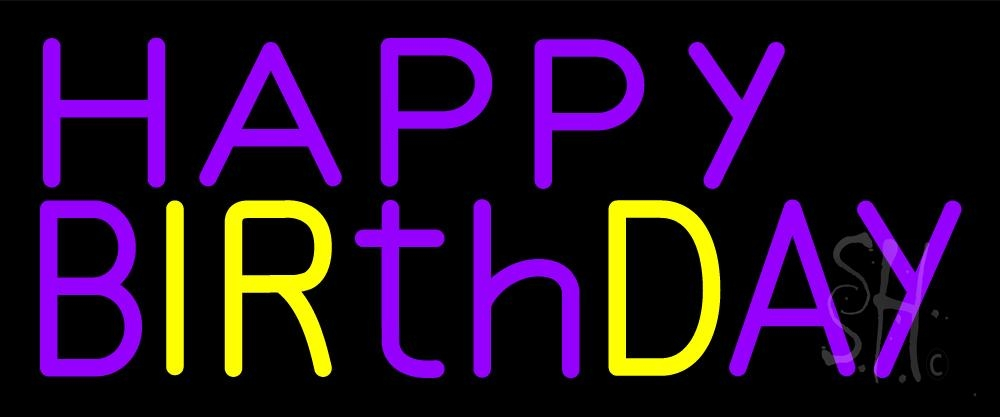 purple and yellow happy birthday neon sign holiday special