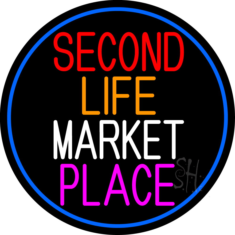 Second Life Marketplace Oval With Blue Border Neon Sign ...