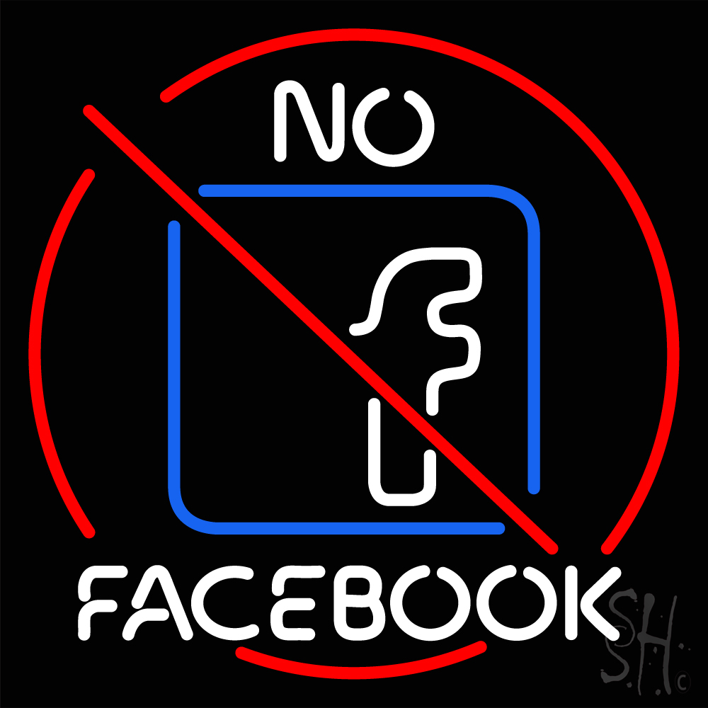No Facebook Neon Sign | Business Neon Signs | Neon Light