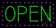 Open Purple Border and Green Letters LED Sign