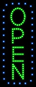 Open Vertical Blue Border and Green Letters LED Sign