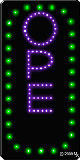 Open Vertical Green Border and Purple Letters LED Sign