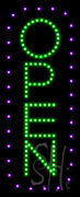 Open Vertical Purple Border and Green Letters LED Sign