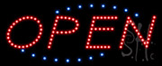 Open Deco Blue Border and Red Letters LED Sign
