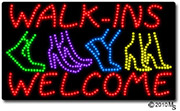 Walk-ins Welcome with feet LED Sign