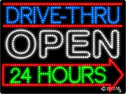 Drive Thru Open 24 hrs Arrow Rignt LED Sign