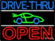Drive Thru Open 3 Car LED Sign