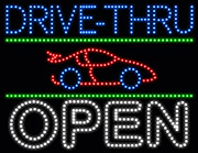 Drive Thru Open Red Car LED Sign