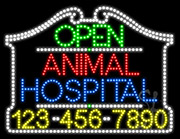 Animal Hospital Open with Phone Number LED Sign