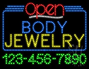 Body Jewelry Open with Phone Number LED Sign