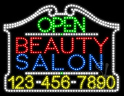 Beauty Salon Open with Phone Number LED Sign