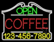 Coffee Open with Phone Number LED Sign