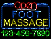 Foot Massage Open with Phone Number LED Sign