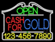 Cash For Gold Open with Phone Number LED Sign