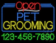Pet Grooming Open with Phone Number LED Sign
