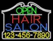 Hair Salon Open with Phone Number LED Sign