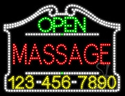 Massage Open with Phone Number LED Sign