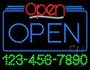 Open with Phone Number LED Sign