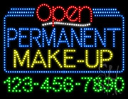 Permanent Make Up Open with Phone Number LED Sign