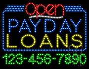 Payday Loans Open with Phone Number LED Sign