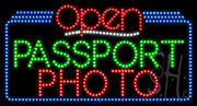 Passport Photo Open LED Sign