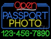 Passport Photo Open with Phone Number LED Sign