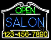 Salon Open with Phone Number LED Sign