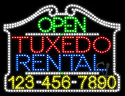 Tuxedo Rental Open with Phone Number LED Sign