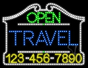 Travel Open with Phone Number LED Sign