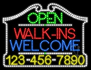 Walk-Ins Welcome Open with Phone Number LED Sign