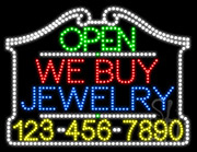 We Buy Jewelry Open with Phone Number LED Sign
