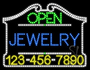 Jewelry Open with Phone Number LED Sign