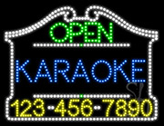 Karaoke Open with Phone Number LED Sign