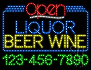 Liquor Beer Wine Open with Phone Number LED Sign