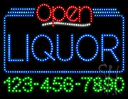 Liquor Open with Phone Number LED Sign