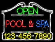 Pool Spa Open with Phone Number LED Sign