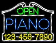Piano Open with Phone Number LED Sign