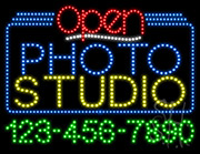 Photo Studio Open with Phone Number LED Sign
