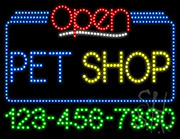 Pet Shop Open with Phone Number LED Sign