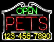 Pets Open with Phone Number LED Sign