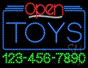 Toys Open with Phone Number LED Sign