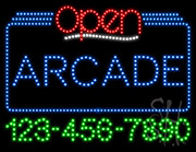 Arcade Open with Phone Number LED Sign
