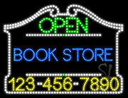 Book Store Open with Phone Number LED Sign