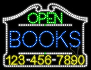 Books Open with Phone Number LED Sign