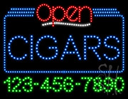 Cigars Open with Phone Number LED Sign