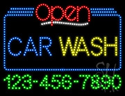 Car Wash Open with Phone Number LED Sign